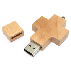 Wood Branded Flash Drive Cross Shaped