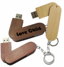 Swivel Wood Printed Usb Flash Drive