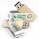 Swivel Wood Branded Flash Drives